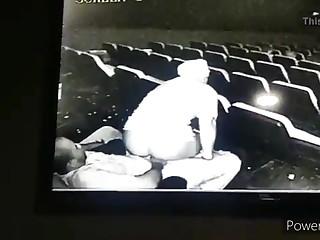 Movie theatre sex malodorous on closed camera, public sex