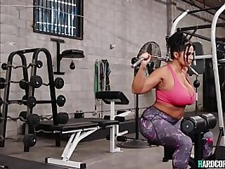 Young black guy Lil D gets boner while watching huge tits brunette MILF Kailani Kai practice at gym then gets blowjob before fucks her with bbc