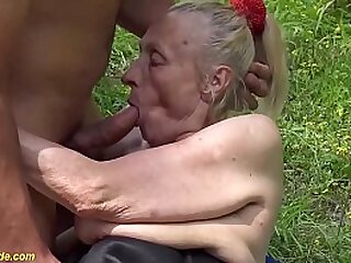 extreme ugly big belly 86 years old grandma gets first time rough outdoor fucked by her young toyboy