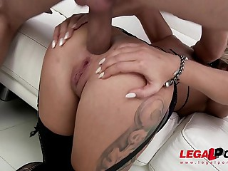 Ex-Gymnast slut Katrin Tequila extreme anal fucking with DP & double vaginal