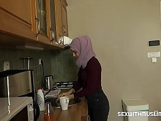Ashely is very disobedient muslim babe, she is a very messy woman. Her husband fucks her hard in kitchen. He licks her pussy, puts his tongue deep into her wet pussy, plays with her clit and Ashely sighs with excitement