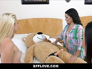 Young And Cute Petite Teen Best Friends Fuck A Stuffed Bear With Dildo